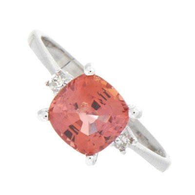 Genuine Orange Sapphire 1.92 ctw & Diamond Ring 10K