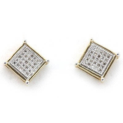 Genuine 0.15 ctw Diamond Square Invisible Earring  14k