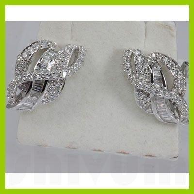 Genuine 1.95 ctw Diamond Tapered Filigree Earring 18KT