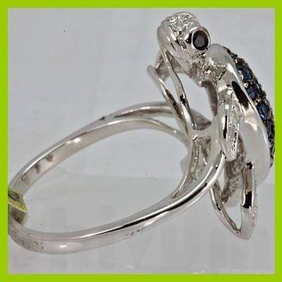 Genuine 1.10 ctw Sapphire & Diamond Ring 14K White Gold