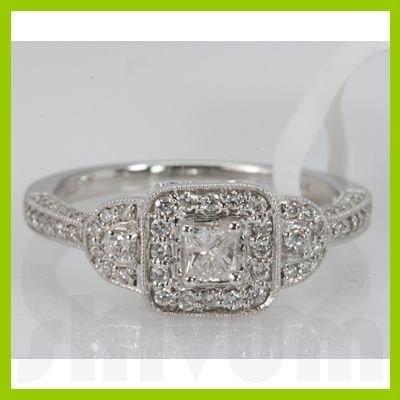Genuine 0.54 ctw Diamond Ring 14K White Gold