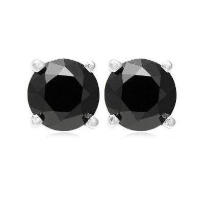 Genuine  Black Diamond 3.0 ctw Earring 14K W/Y Gold