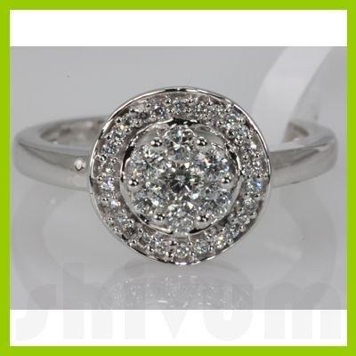 Genuine 0.5 ctw Diamond Ring 14K White Gold