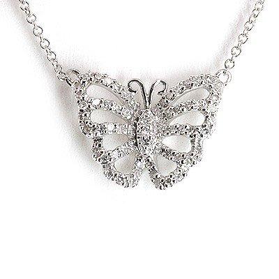 Genuine 0.19 ctw White Diamond Butterfly Necklace 14k