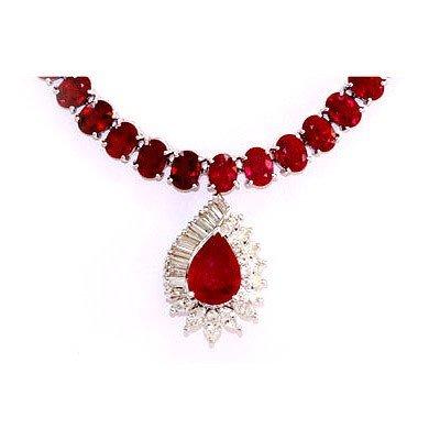 Genuine Vintage Design  91.49 Ctw Ruby Necklace 14k
