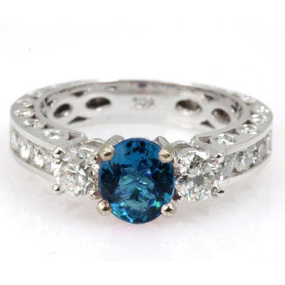 Genuine Blue Topaz 2.34 ctw & Diamond Ring 14K