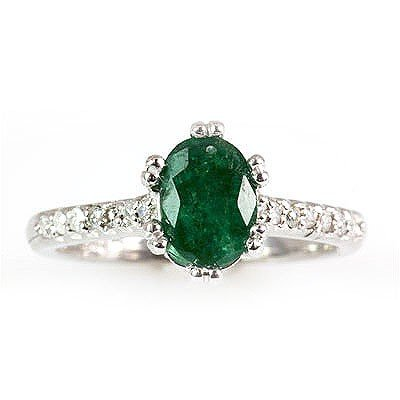 Genuine  Emerald 1.31 ctw Diamond Ring 10k  3.62g