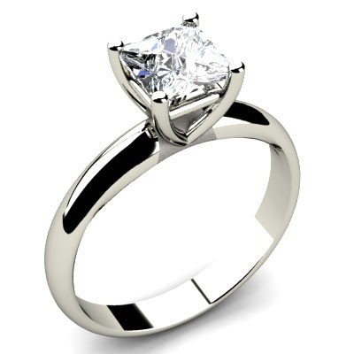 1.00 ct Princess cut Diamond Solitaire Ring, F-G, SI2