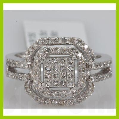 Genuine 1.01ctwPrincess cut Diamond Ring14kt White Gold
