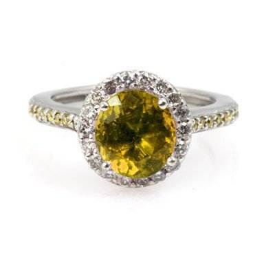 Genuine 1.85 ctw Citrine Ring 14Kt White/Yellow  Gold