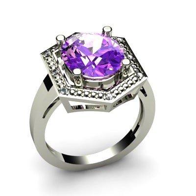 Genuine 4.58 ctw Amethyst Diamond Ring W/Y Gold 14kt