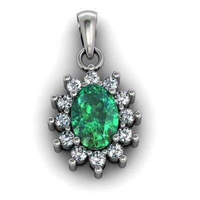 Genuine 1.04 Ctw  Emerald (Beryl) Pendant  14k