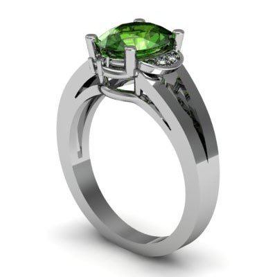 Genuine 1.26 ctw Green Tourmaline Diamond Ring 14kt