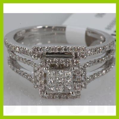 Genuine 0.89 ctw Princess cut Diamond Ring 14k White G