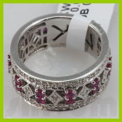 Genuine 1.44 ctw 14k Ruby & Diamond White Gold Ring