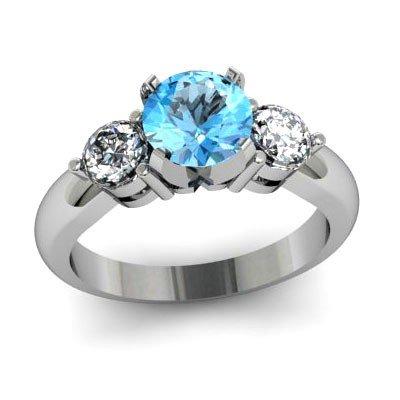 Genuine 1.45 ctw Aqua Marine Diamond Ring W/Y Gold 14kt