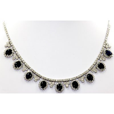 Genuine Diamond Blue Sapphire Fashion Necklace 14k