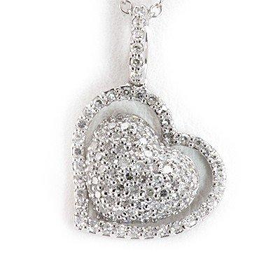 Genuine 0.44 ctw Diamond Double Raw Heart Necklace 14k
