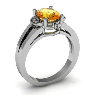 Genuine 1.31 ctw Citrine Diamond Ring W/Y Gold 14kt