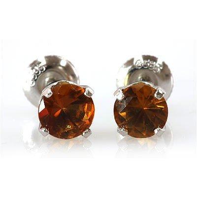 Genuine 2.82 ctw Orange Sapphire Stud Earring 14k 0.92g