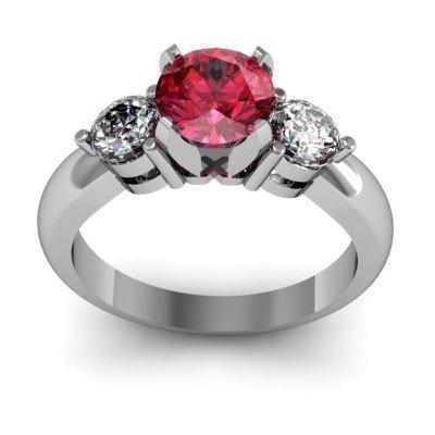 Genuine 1.50 ctw Garnet Diamond Ring W/Y Gold 14kt