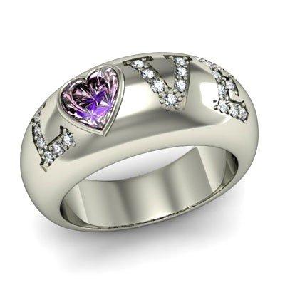 Genuine 0.74 ctw Amethyst Diamond Ring 14k W/Y Gold