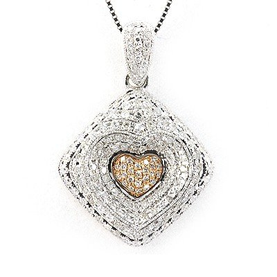 Genuine 1 ctw Diamond Heart Necklace 18K White Gold