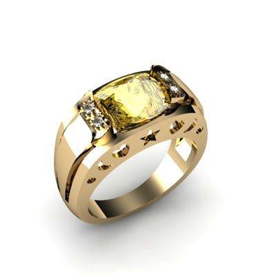 Genuine 2.95 ctw Citrine Diamond Ring W/Y Gold 10kt
