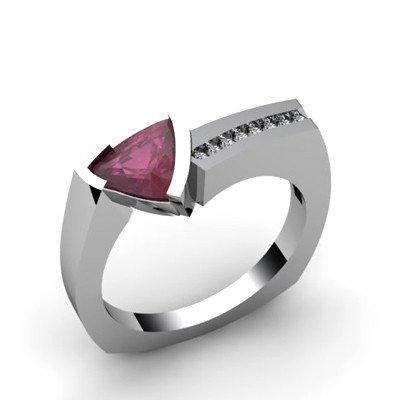 Genuine 1.08 ctw Ruby  Euro Shank Diamond Ring 10k