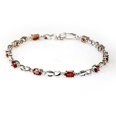Genuine Orange Sapphire 3.75Ctw Diamond Bracelet 10K