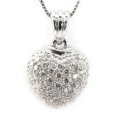 Genuine 0.66Ctw Diamond Heart Necklace 14K White Gold
