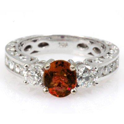 Genuine Garnet 2.14 ctw & Diamond Ring 14KTGold 6.75
