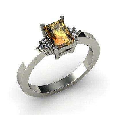 Genuine 0.61 ctw Citrine Diamond Ring 10k