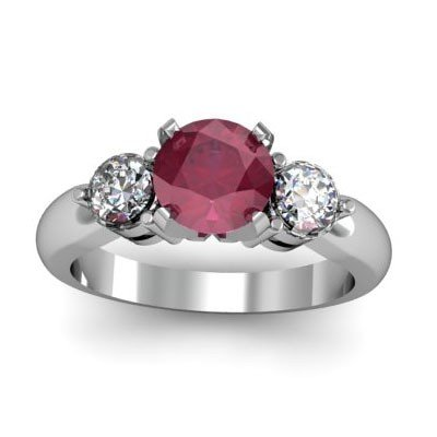 Genuine 1.75 ctw Ruby Diamond Whte/Yllw Gold 10kt