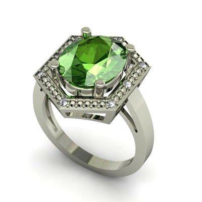 Genuine 5.33 ctw Tourmaline Diamond Ring W/Y Gold 14kt