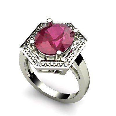 Genuine 6.08 ctw Ruby Diamond Ring Whte/Yllw Gold 14kt