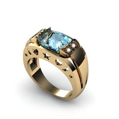 Genuine 3.05 ctw Aqua Marine Diamond Ring W/Y Gold 10kt