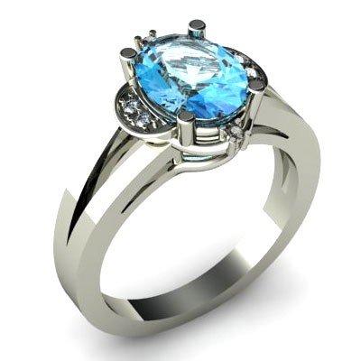 Genuine 1.16 ctw Aqua Marine Diamond Ring W/Y Gold 10kt