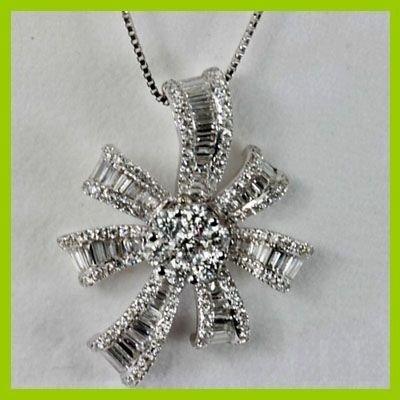 Genuine 1.66 ctw Flower Diamond Pendant 18kt Gold-White