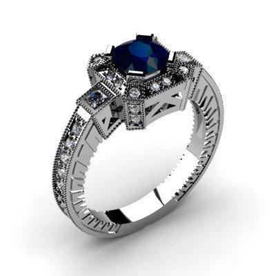Genuine 1.88 ctw Sapphire Diamond Ring 10k
