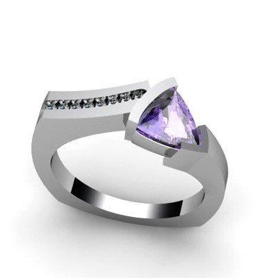Genuine 1.03 ctw Tanzanite  Euro Shank Diamond Ring 10k