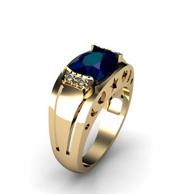 Genuine 2.80 ctw Sapphire Diamond Ring W/Y Gold 10kt