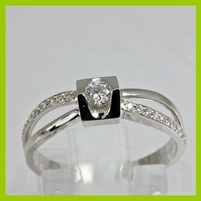 Genuine 0.11 ctw Diamond Ring 18kt Gold-White
