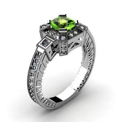Genuine 1.68 ctw Green Tourmaline Diamond Ring 14k