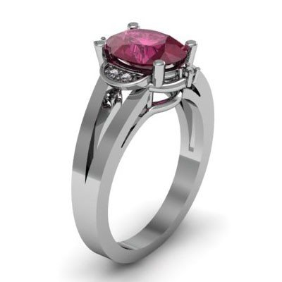 Genuine 1.61 ctw Ruby Diamond Ring Whte/Yllw Gold 10kt