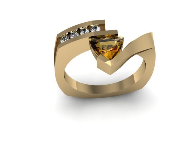 Genuine 0.67 ctw Citrine Trillion Diamond Ring 14k
