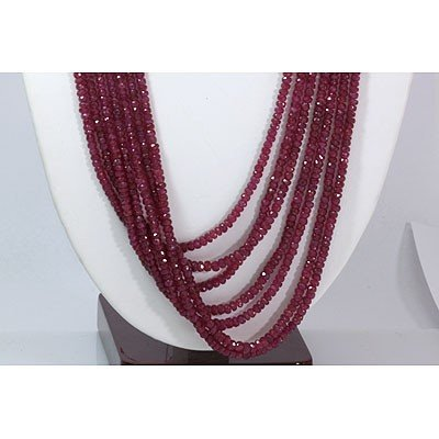 Natural Ruby Necklace 7 Rows Round Cut 611.80 ctw L-7 - 2