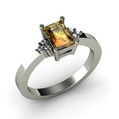 Genuine 0.61 ctw Citrine Diamond Ring 14k