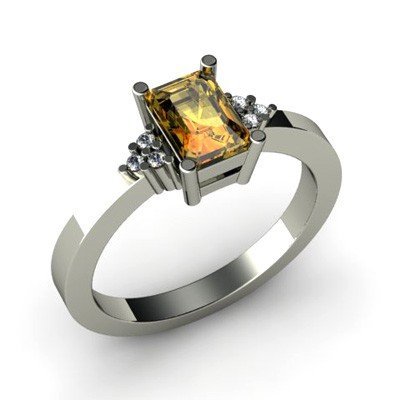 Genuine 0.61 ctw Citrine Diamond Ring 14k