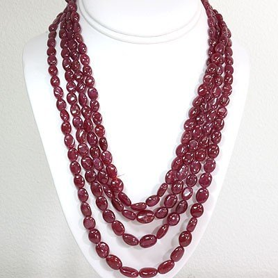 Natural Ruby Necklace 4 Rows Oval Cut 743.65 ctw L-4